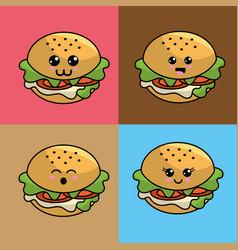 Kawaii set burger icon with beautiful expressions vector