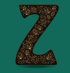 Letter z with golden floral decor vector