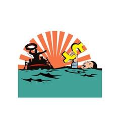 Man Sinking Dollar Sign vector image