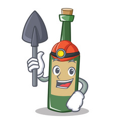Miner wine bottle character cartoon vector