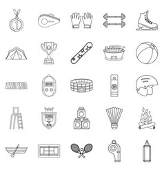 Mountain sports icons set outline style vector