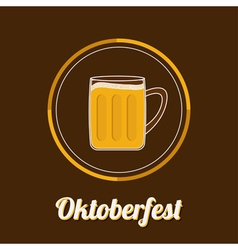 Oktoberfest big beer glass mug with foam cap froth vector