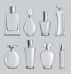 Perfume glass bottles realistic set vector