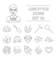 precious minerals and jeweler set icons in outline vector image