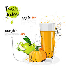 Pumpkin apple mix cocktail of fresh juice hand vector