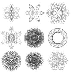 Set of black circle ornaments vector