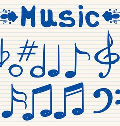 Set of hand drawn sketched doodled music notes and vector image vector image