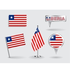Set of Liberian pin icon and map pointer flags vector image vector image