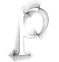 Sketch font letter p vector