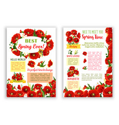 Spring poster of red poppy flowers bouquets vector