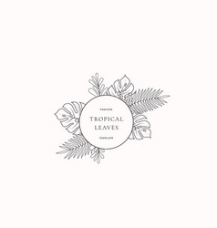Tropical leaves fashion boutique sign or logo vector
