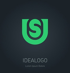 US initial logo US initial monogram logotype vector image vector image