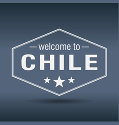 welcome to chile hexagonal white vintage label vector image vector image