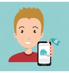 Man house smartphone rent vector