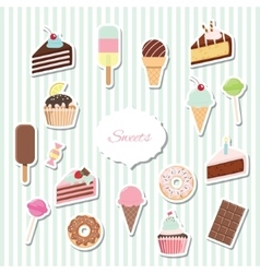 Cartoon sweets set - ice cream donuts cupcakes vector image