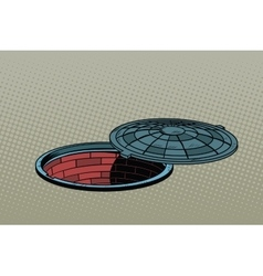 Opened street manhole realistic vector