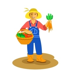 Farmer woman standing with vegetables harvest vector