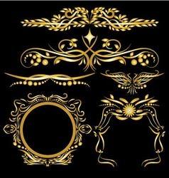 Gold color vintage decorations elements flourishes vector