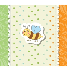 Vintage doodle little bee for greeting card vector
