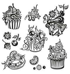 Muffins donut cupcakes vector