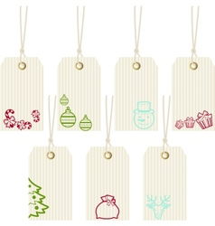 Collection of merry christmas paper price tags vector