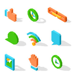 bright isolated icons used in social media set vector image