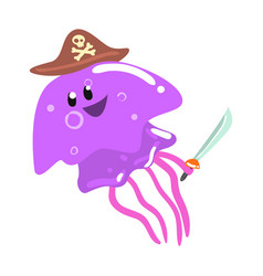 Funny cartoon purple jellyfish pirate in a hat vector