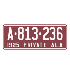 Alabama 1925 license plate vector