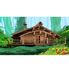 Hut in the woods vector