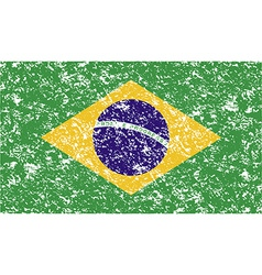 Flag of brazil with old texture vector