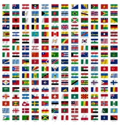 Flags of the world and map on white background vector