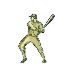 Baseball player batter batting bat etching vector