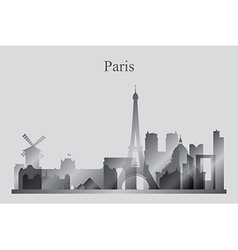 Paris city skyline silhouette in grayscale vector