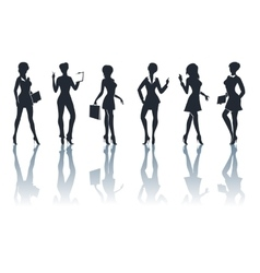 Buisness woman silhouettes set vector