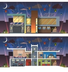 Modern house facade section night vector