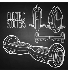 Graphic collection of electric scooters vector