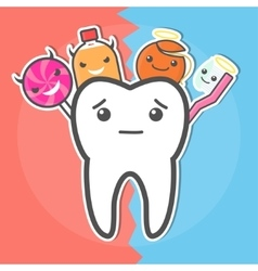 Sweets versus hygiene dental concept vector