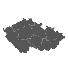 Map of czech republic with regions vector