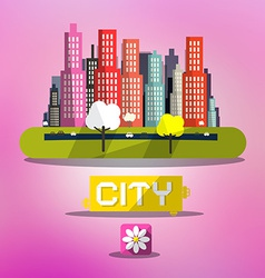 Abstract Spring City on Pink Background vector image vector image