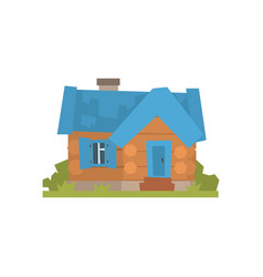 Ancient timbered log cabin with blue roof vector