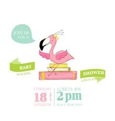 Baby shower card - baby flamingo girl on books vector