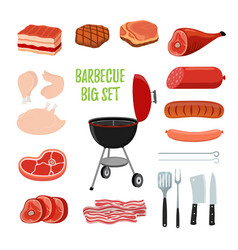 barbecue set - different meat bbq stand vector image