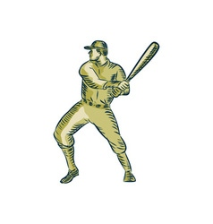 Baseball Player Batter Batting Bat Etching vector image vector image