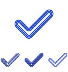 Blue line check logo design set vector