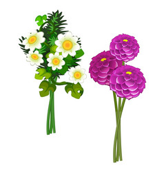 bouquets of pink peonies and daisies vector image