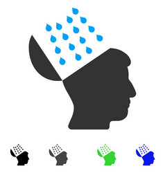 Brain shower flat icon vector