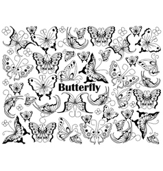 Butterfly colorless set vector