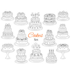 Cakes set hand drawn doodle vector