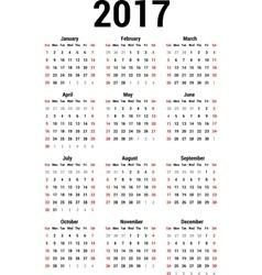 Calendar 2017 vector image vector image
