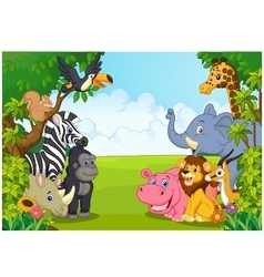 Cartoon collection animal in the jungle vector image
